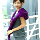 Real Rabbit Fur Check Embellished Multi Function Scarf Purple