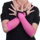 Fingerless Fishnet Gloves w/ Lace Ruffles Pink