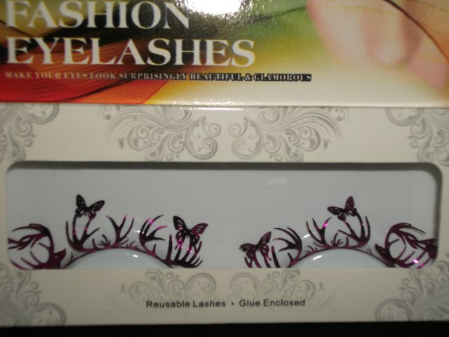 #57 Fashion fake reuseable eyelashes (purple butterfly picture) G NBU NBW NBO