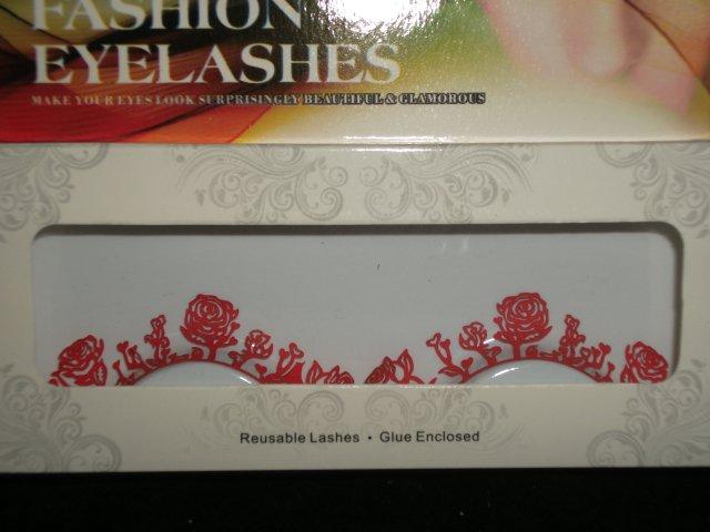 #61 Fashion fake reuseable eyelashes (red flower picture) G NBU NBW NBO