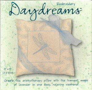 BLUE MIST DRAGONFLY (aromatherapy pillow) embroidery
