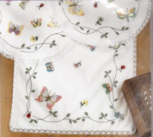 BUTTERFLIES IN FLIGHT- scarf  and doilies- embroidery