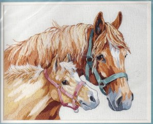 MOTHER AND FOAL - crewel