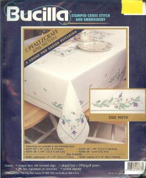 """Bucilla Pfaltzgraff - April Pattern- 60x90"""" Tablecloth"""