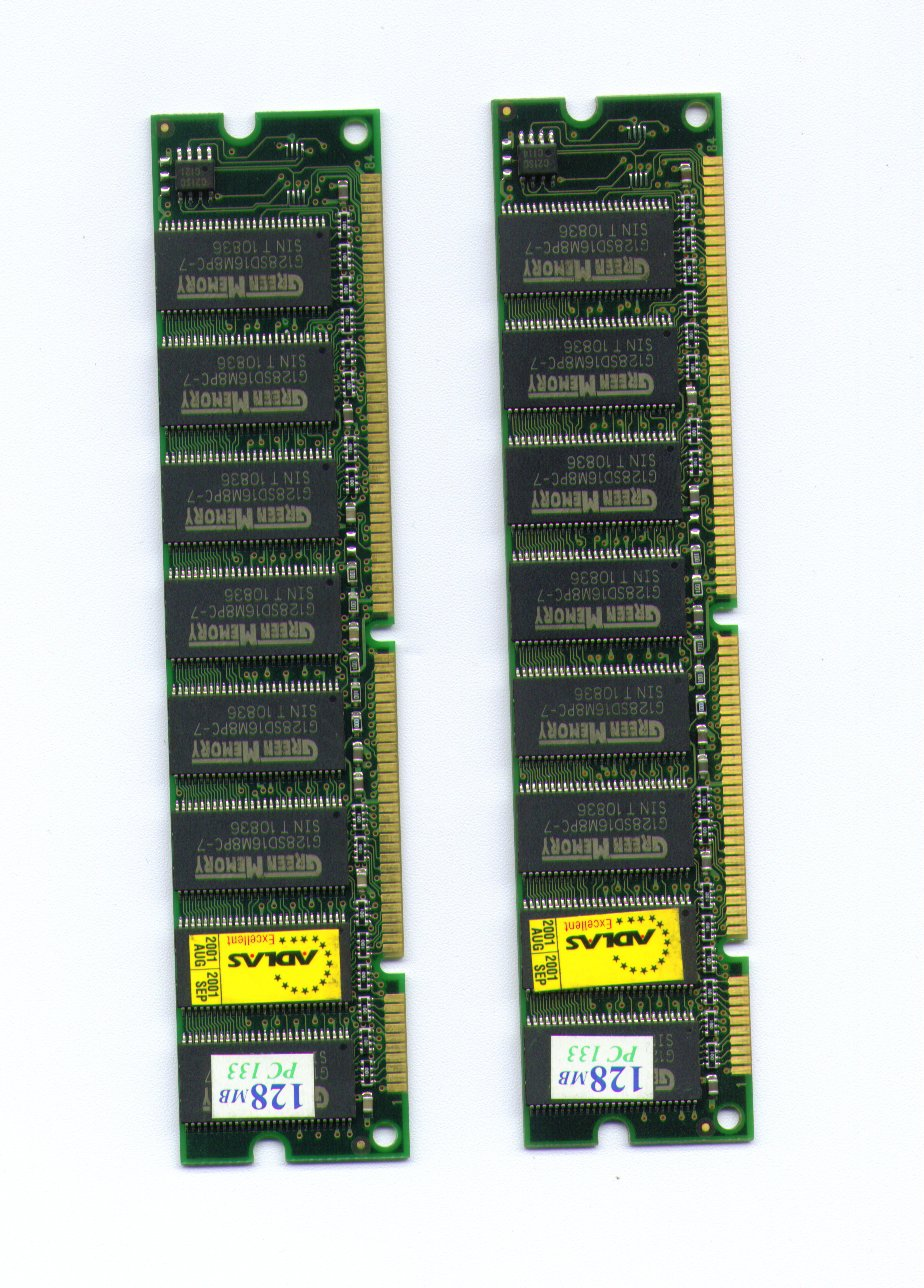 2 x 128MB RAM MEMORY MODULE / STICK PC 133 SDRAM for PC COMPUTERS (total of 256 MB)
