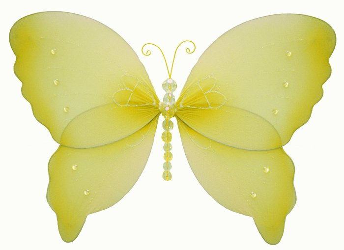 "7"""" Yellow Crystal Butterfly - nylon hanging ceiling wall baby nursery room wedding decor decoration"