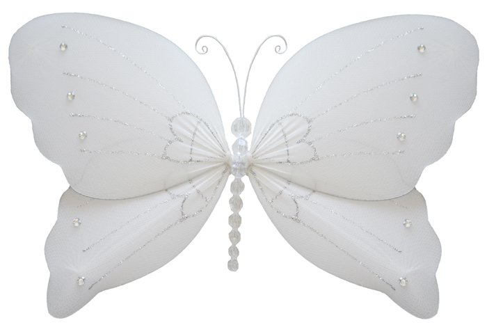 """7"""""""" White Crystal Butterfly - nylon hanging ceiling wall baby nursery room wedding decor decoration"""