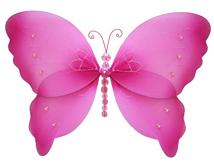 "18"""" Dark Pink (Fuschia) Crystal Butterfly - nylon hanging ceiling wall baby nursery room wedding de"