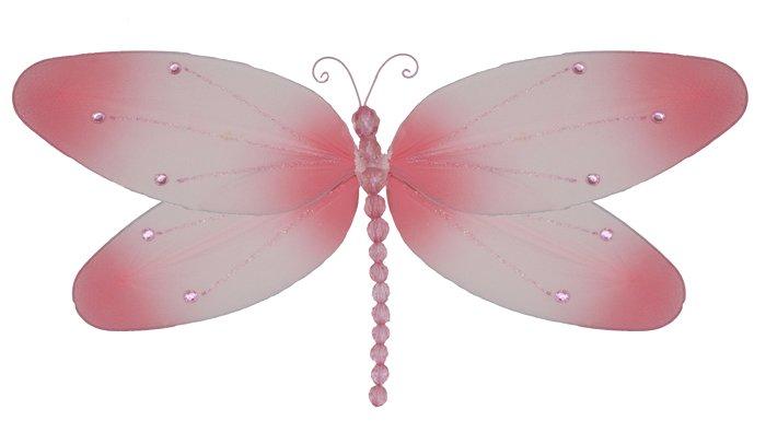 "10"""" Pink Crystal Dragonfly - nylon hanging ceiling wall baby nursery room wedding decor decoration"