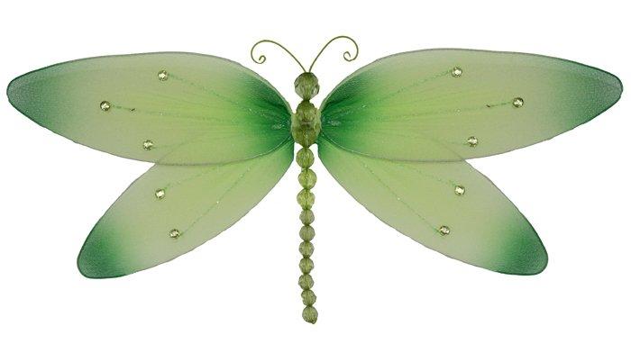 "10"""" Green Crystal Dragonfly - nylon hanging ceiling wall baby nursery room wedding decor decoration"