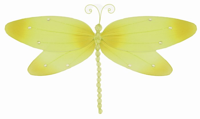 "7"""" Yellow Crystal Dragonfly - nylon hanging ceiling wall baby nursery room wedding decor decoration"