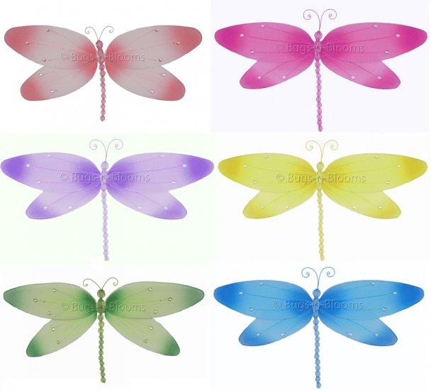 "10"""" Lot Crystal Dragonflies 6 piece Set dragonfly (Pink, Dark Pink (Fuschia), Purple, Yellow, Blue,"