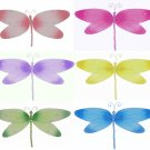 "10"""" Lot Crystal Dragonflies 6 piece Set dragonfly (Pink, Dark Pink (Fuschia), Purple, Yellow, Blue,"