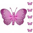 Dark Pink (Fuschia) Butterfly Garland String Mobile - nylon hanging ceiling wall baby nursery room w
