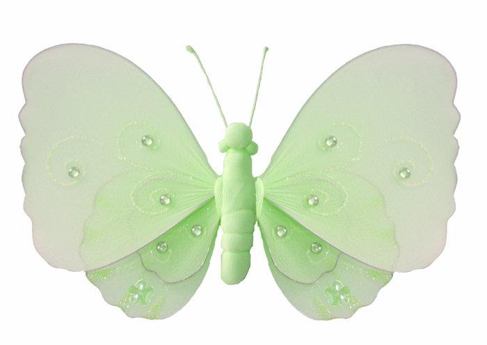 "10"""" Green Gems Layered Butterfly nylon hanging ceiling wall baby nursery room wedding decor decorat"