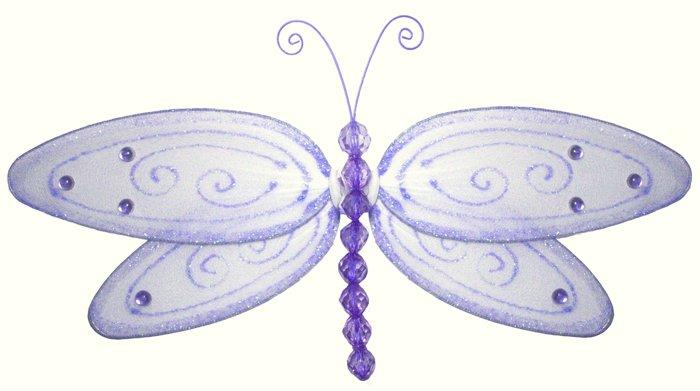 "10"""" Purple Glitter Dragonfly - nylon hanging ceiling wall baby nursery room wedding decor decoratio"