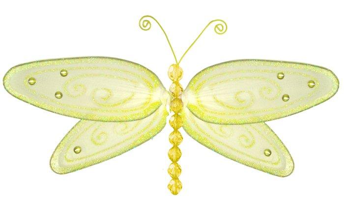 "5"""" Yellow Glitter Dragonfly - nylon hanging ceiling wall baby nursery room wedding decor decoration"