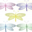 "5"""" Lot Glitter Dragonflies 5 piece Set dragonfly (Pink, Purple, Yellow, Blue, Green) - nylon hangin"