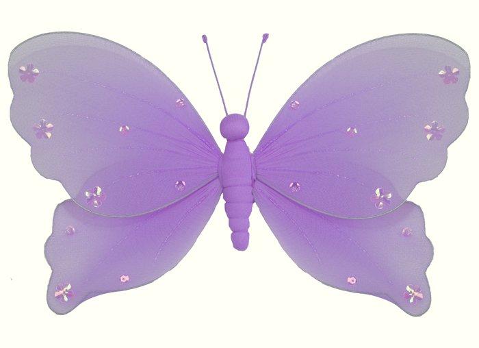 "5"""" Purple Jewel Butterfly - nylon hanging ceiling wall baby nursery room wedding decor decoration d"