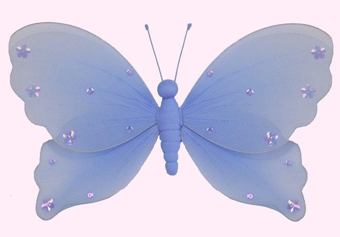 "5"""" Blue Jewel Butterfly - nylon hanging ceiling wall baby nursery room wedding decor decoration dec"