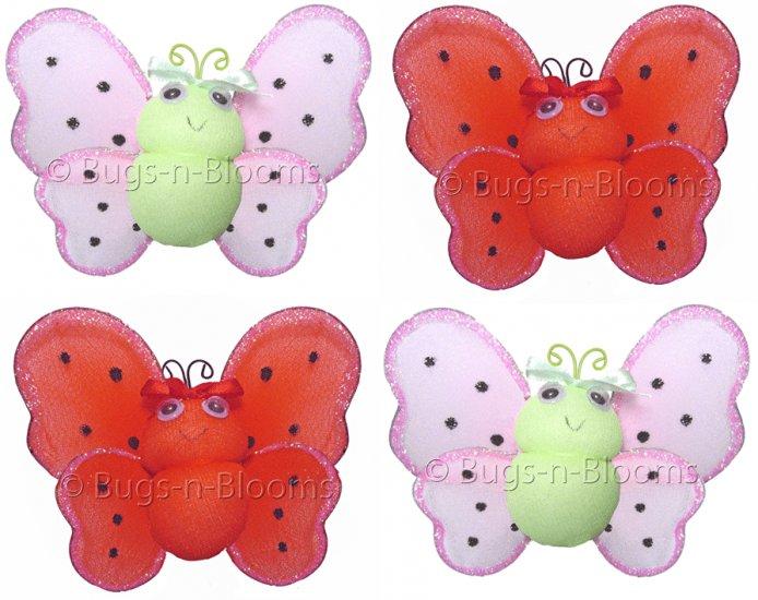 Lot Smiling Ladybugs 4 piece Set ladybug (Red & Black, Pink & Green) - nylon hanging ceiling wall ba
