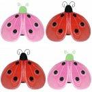 "4"""" Lot Shimmer Ladybugs 4 piece Set ladybug (Pink & Green, Red & Black) - nylon hanging ceiling wal"
