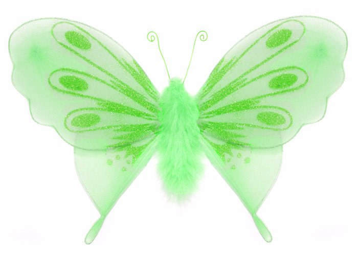 """10"""""""" Green Marabou Feathers Butterfly - nylon hanging ceiling wall baby nursery room wedding decor d"""