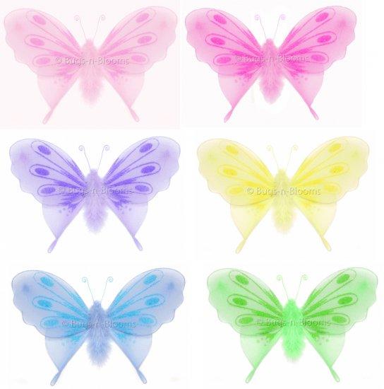 "10"""" Lot Marabou Feathers Butterflies 6 piece Set butterfly (Pink, Dark Pink (Fuschia), Purple, Yell"
