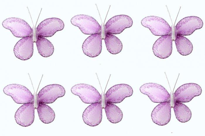 """2"""""""" Purple Mini Glitter Butterfly Butterflies 6pc set - nylon hanging ceiling wall baby nursery room"""