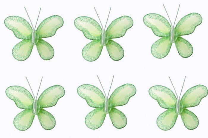 "2"""" Green Mini Glitter Butterfly Butterflies 6pc set - nylon hanging ceiling wall baby nursery room"