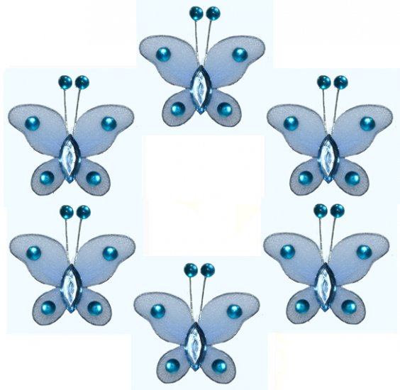 "2"""" Blue Mini Bead Butterfly Butterflies 6pc set - nylon hanging ceiling wall baby nursery room wedd"