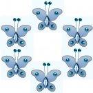 "2"""" Blue Mini Bead Butterfly Butterflies 6pc set - nylon hanging ceiling wall baby nursery room wedd"