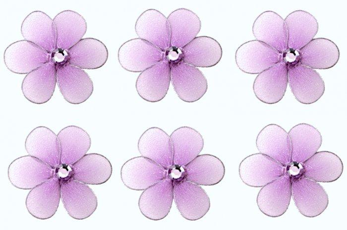 "2"""" Purple Mini Daisy Flower Daisies Flowers 6pc set - nylon hanging ceiling wall baby nursery room"