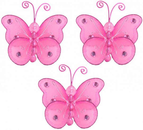 "3"""" Dark Pink (Fuschia) Mini Wire Bead Butterfly Butterflies 3pc set - nylon hanging ceiling wall ba"
