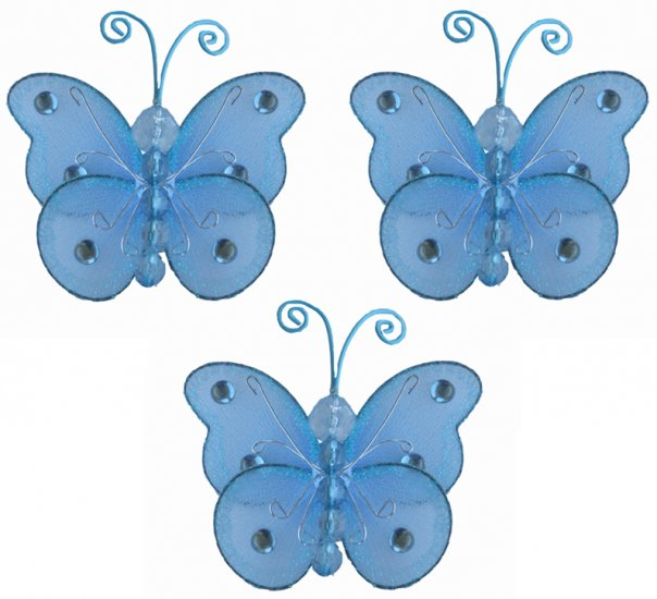 "3"""" Blue Mini Wire Bead Butterfly Butterflies 3pc set - nylon hanging ceiling wall baby nursery room"