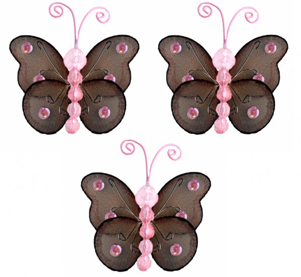 """3"""""""" Brown Pink Mini Wire Bead Butterfly Butterflies 3pc set - nylon hanging ceiling wall baby nurser"""
