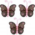 "3"""" Brown Pink Mini Wire Bead Butterfly Butterflies 3pc set - nylon hanging ceiling wall baby nurser"