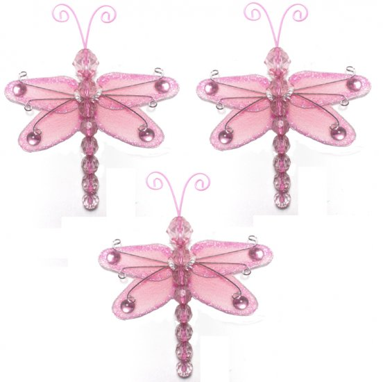 """3"""""""" Pink Mini Wire Bead Dragonfly Dragonflies 3pc set - nylon hanging ceiling wall baby nursery room"""
