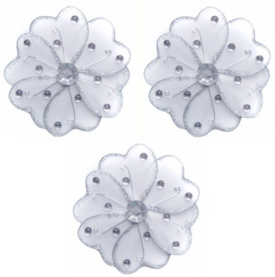 "4"""" White Mini Wire Daisy Flower Daisies Flowers 3pc set - nylon hanging ceiling wall baby nursery r"