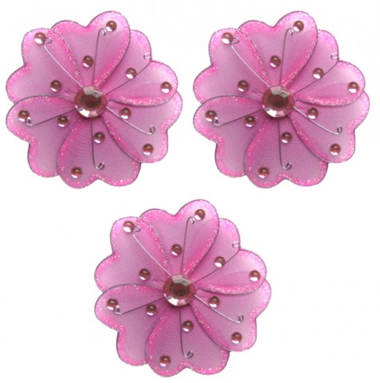 "4"""" Dark Pink (Fuschia) Mini Wire Daisy Flower Daisies Flowers 3pc set - nylon hanging ceiling wall"