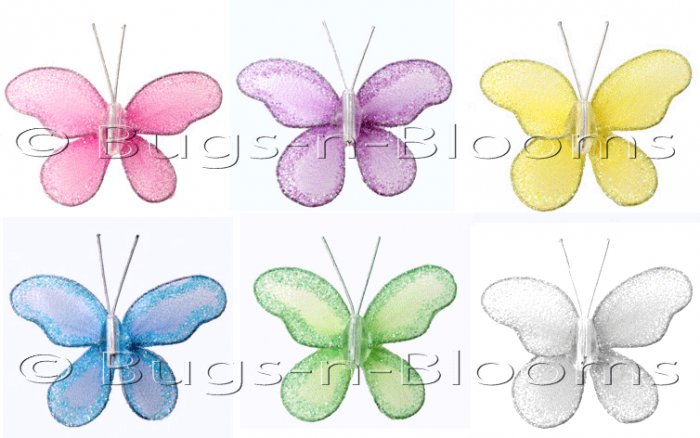 "2"""" Assorted Mini Glitter Butterfly Butterflies 6pc set (Purple, Dark Pink (Fuschia), Yellow, Blue,"