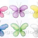 "2"""" Assorted Mini Glitter Butterfly Butterflies 6pc set (Purple, Dark Pink (Fuschia), Yellow, Blue,"