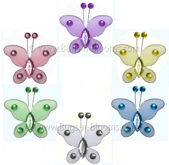 """2"""""""" Assorted Mini Bead Butterfly Butterflies 6pc set (Purple, Pink, Yellow, Blue, Green and White) -"""