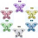 "2"""" Assorted Mini Bead Butterfly Butterflies 6pc set (Purple, Pink, Yellow, Blue, Green and White) -"