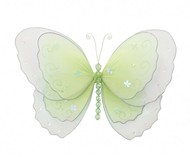 "13"""" Green Multi-Layered Butterfly - nylon hanging ceiling wall baby nursery room wedding decor deco"