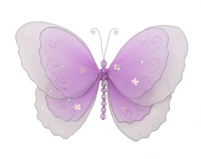 "5"""" Purple Multi-Layered Butterfly - nylon hanging ceiling wall baby nursery room wedding decor deco"