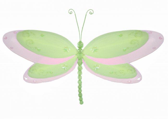 "10"""" Green Multi-Layered Dragonfly - nylon hanging ceiling wall baby nursery room wedding decor deco"