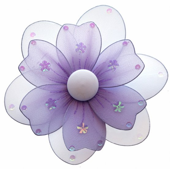 "8"""" Purple Multi Layered Daisy Flower - nylon hanging ceiling wall baby nursery room wedding decor d"