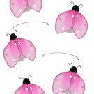 "24"""" Pink Glitter Ladybug Mobile - nylon hanging ceiling wall baby nursery room wedding decor decora"