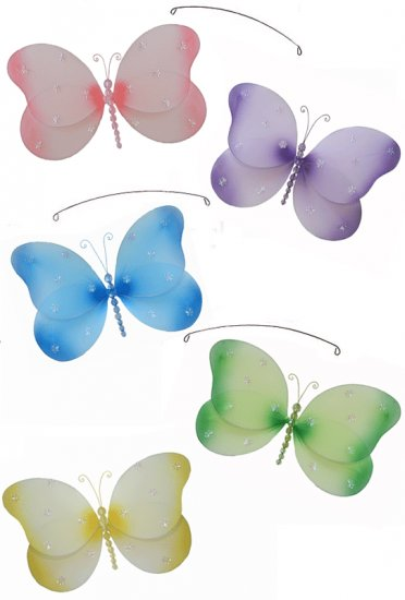"""24"""""""" Pink Purple Yellow Blue Green Sparkle Butterfly Mobile - nylon hanging ceiling wall baby nurser"""